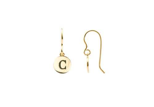 All the Luck in the World Earring letter C gold