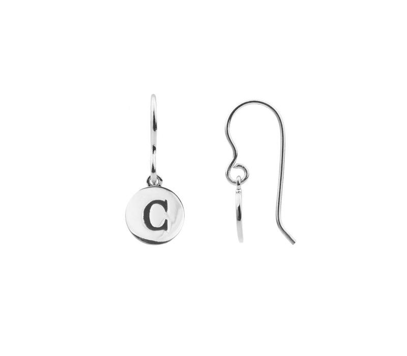 Character Silverplated Earring letter C