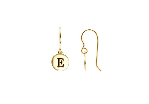 All the Luck in the World Oorbel letter E 18K goud