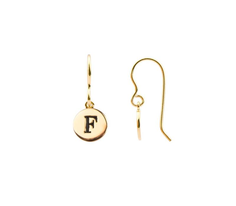 Character Goldplated Oorbel letter F