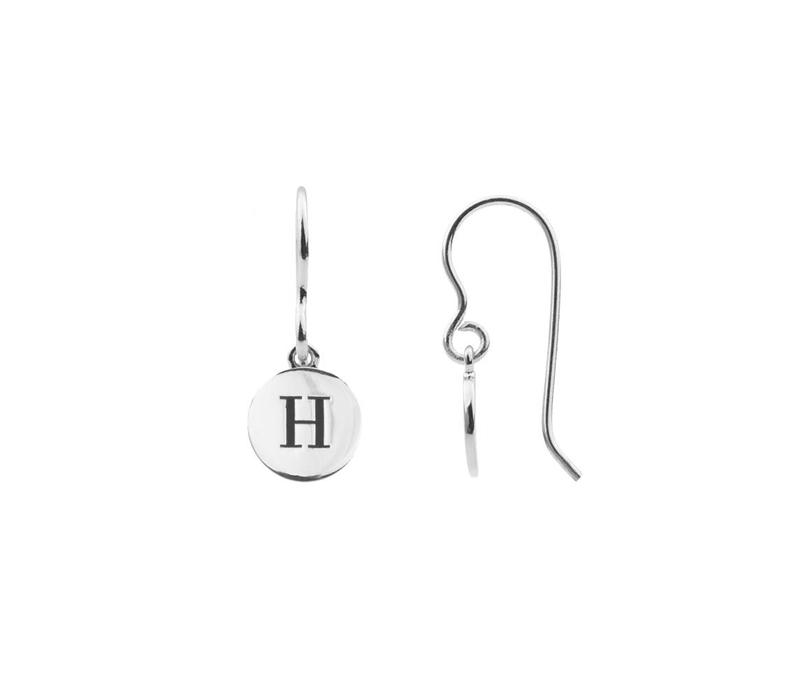 Character Silverplated Oorbel letter H