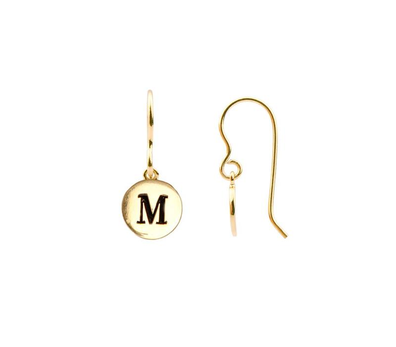 Character Goldplated Oorbel letter M