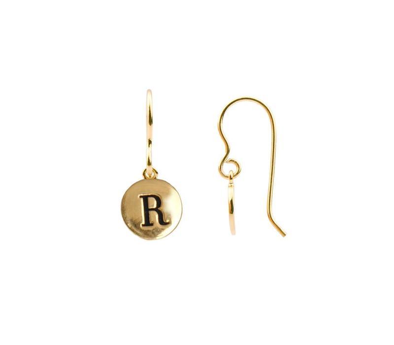 Oorbel letter R 18K goud