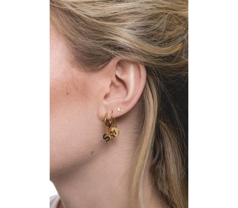 Earring letter R 18K gold