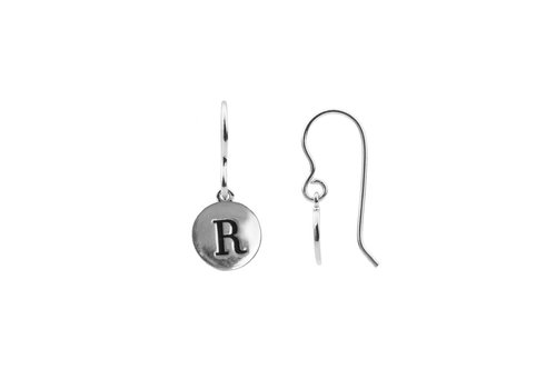 All the Luck in the World Earring letter R silver
