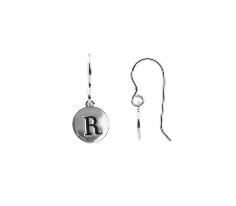 Character Silverplated Oorbel letter R