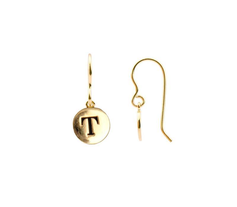 Oorbel letter T 18K goud