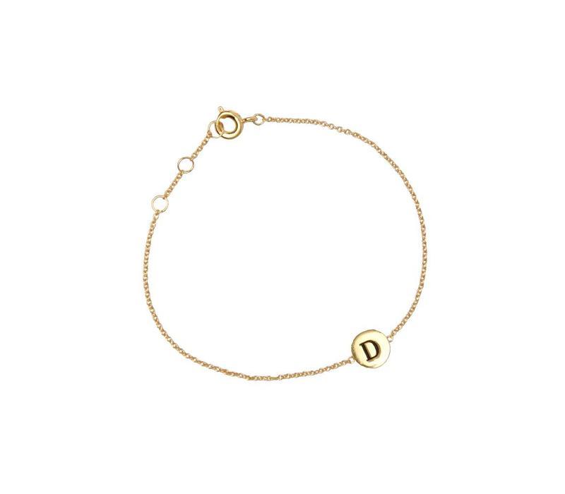 Armband letter D goud