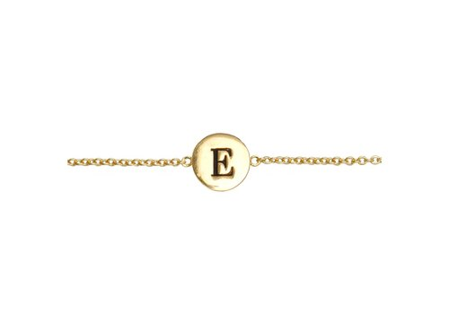 All the luck in the world Armband letter E 18K goud