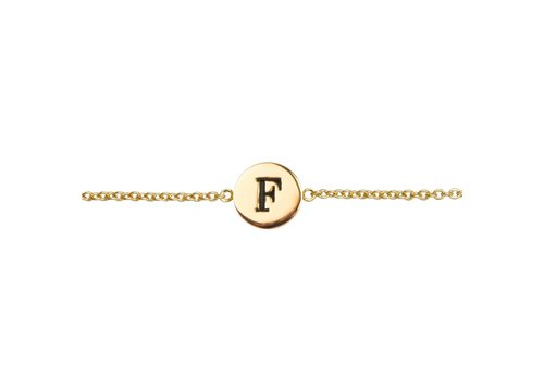 All the Luck in the World Armband letter F 18K goud