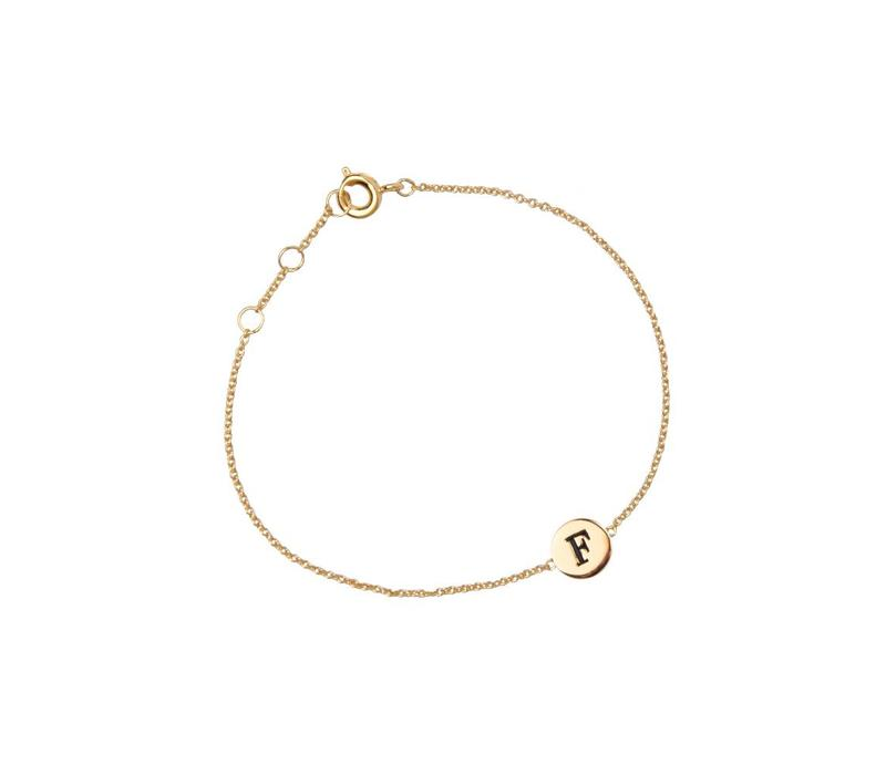 Character Goldplated Armband letter F