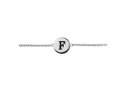 All the Luck in the World Armband letter F zilver