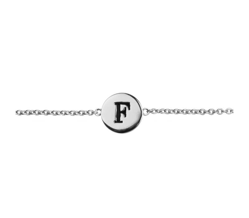 Character Silverplated Armband letter F