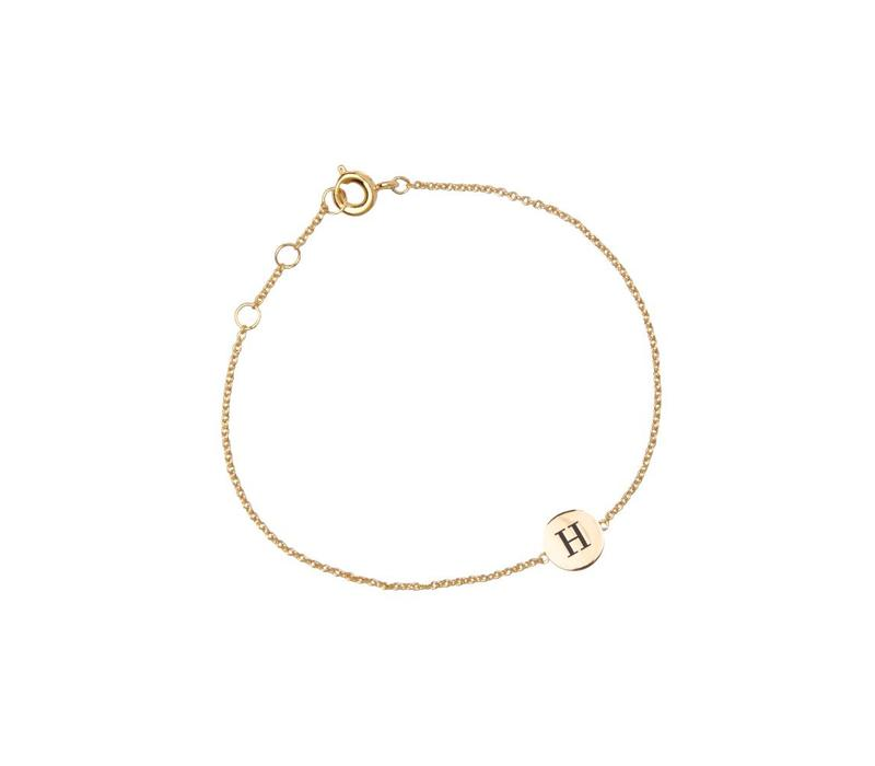 Armband letter H 18K goud