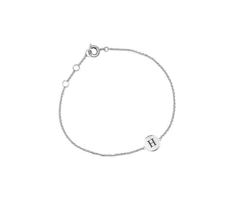 Armband letter H zilver
