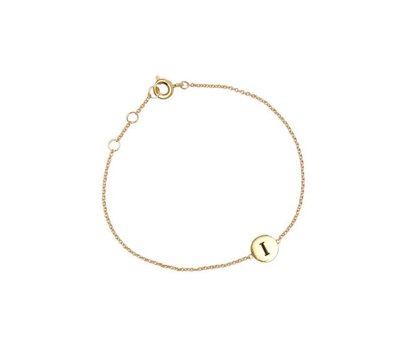 Bracelet letter I 18K gold