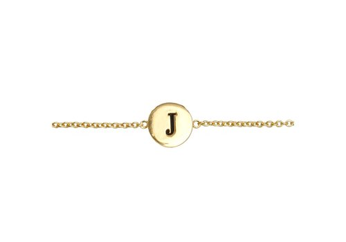 All the Luck in the World Armband letter J 18K goud