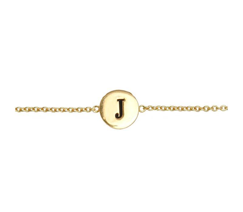 Armband letter J verguld