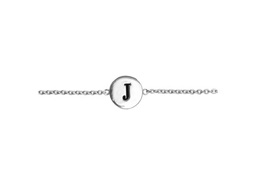 All the Luck in the World Armband letter J zilver