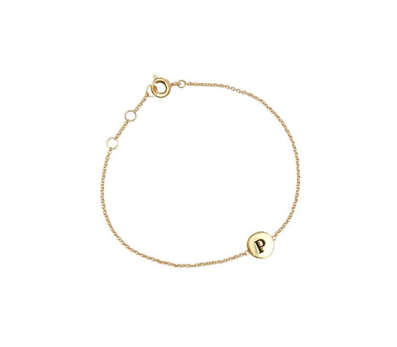 Armband letter P goud