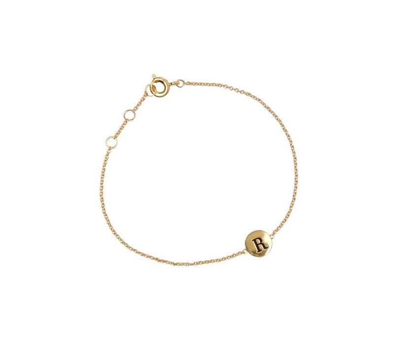 Armband letter R 18K goud