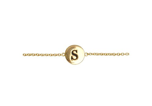 All the luck in the world Armband letter S goud