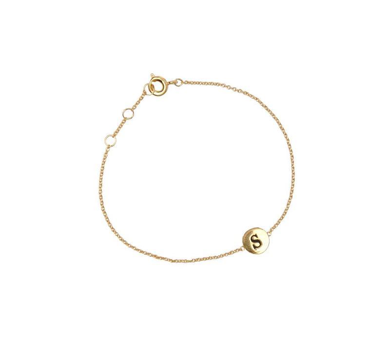 Armband letter S 18K goud