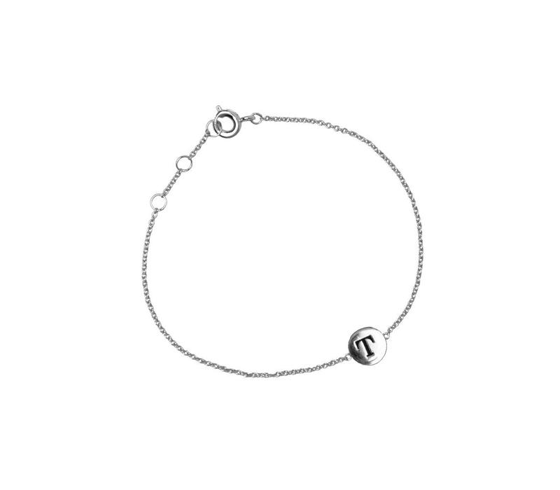 Armband letter T zilver