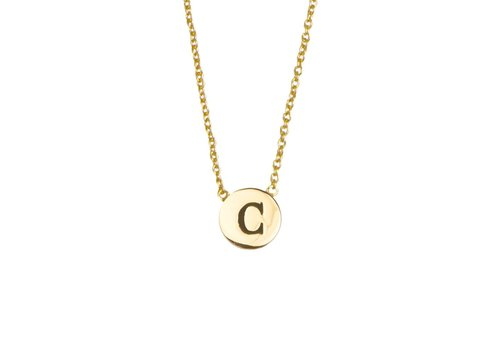 All the luck in the world Ketting letter C 18K goud