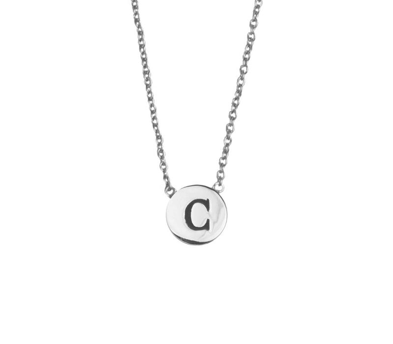 Character Silverplated Ketting letter C