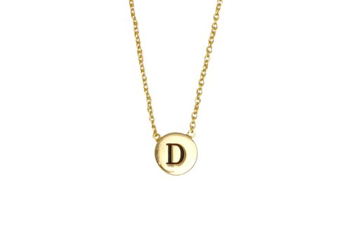 All the luck in the world Ketting letter D 18K goud