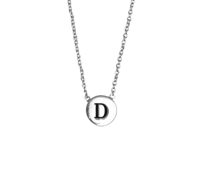 Character Silverplated Ketting letter D