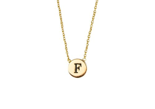 All the Luck in the World Necklace letter F gold