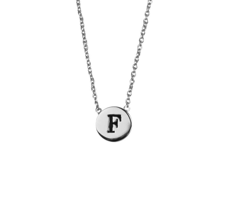Character Silverplated Ketting letter F