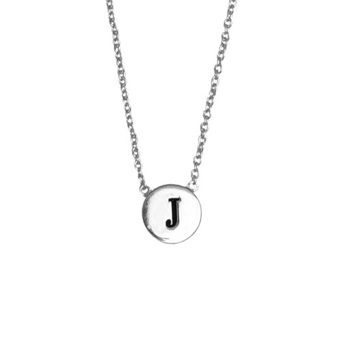 Character Silverplated Necklace letter J