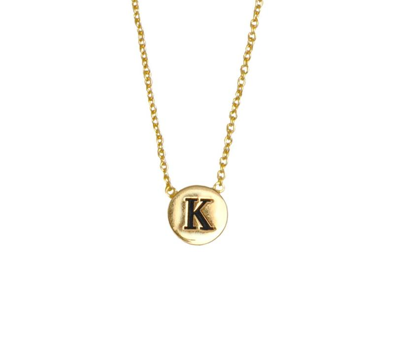 Character Goldplated Necklace letter K