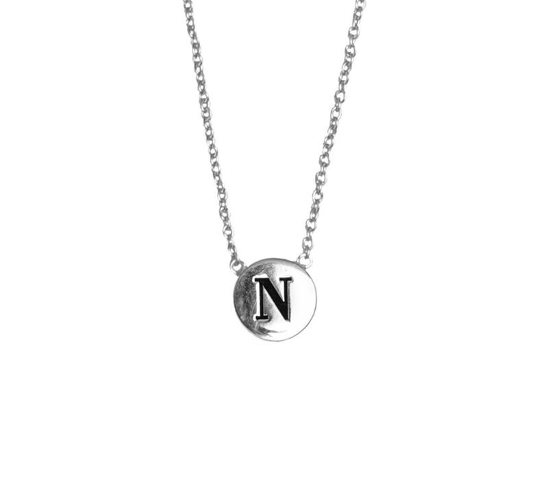 Character Silverplated Ketting letter N