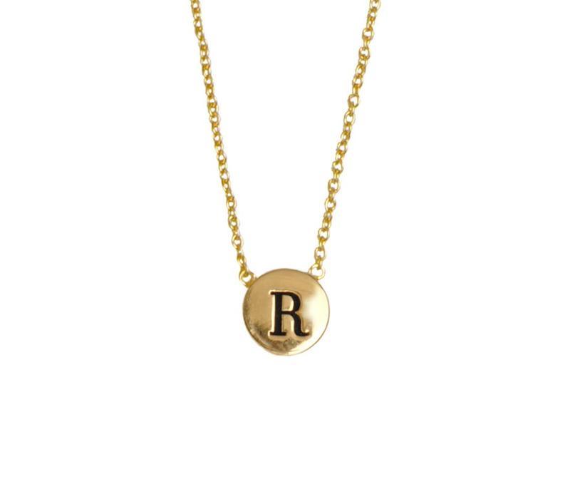 Ketting letter R verguld