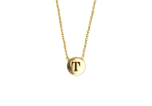All the Luck in the World Ketting letter T 18K goud