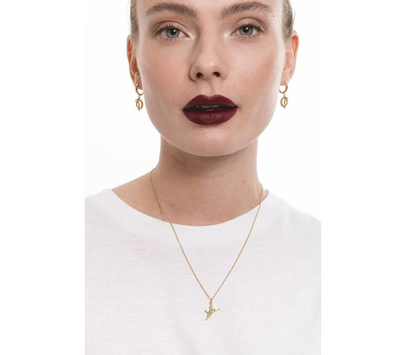East Goldplated Necklace Crane