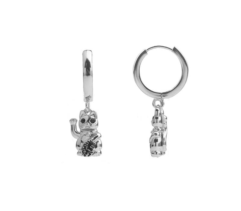 Earring Lucky Cat plated