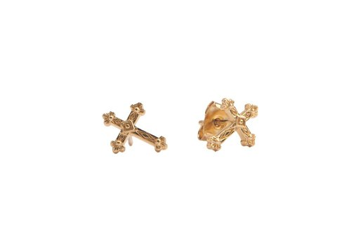 All the Luck in the World Parade Goldplated Earrings Cross