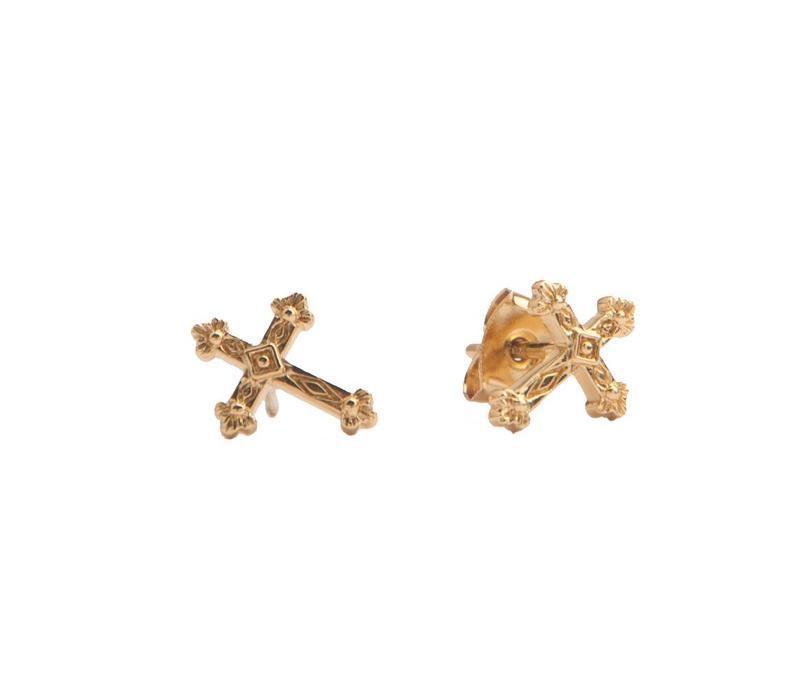 Earrings Cross plated