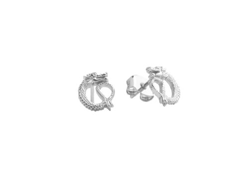 All the Luck in the World Parade Silverplated Earrings Dragon