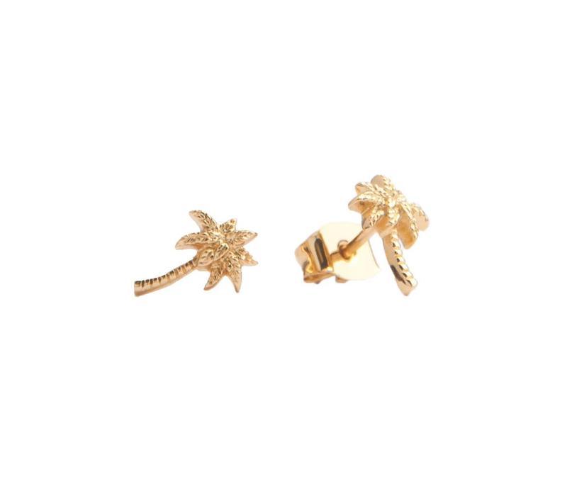 Oorbellen Palmboom 18K goud