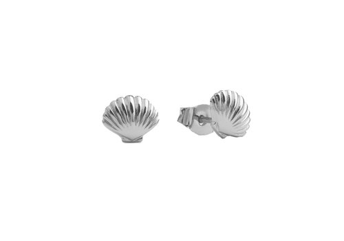All the Luck in the World Parade Silverplated Earrings Sea Shell