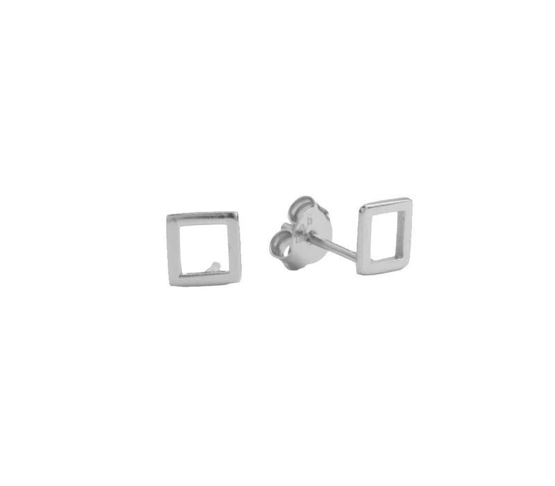 Oorbellen Open Vierkant zilver