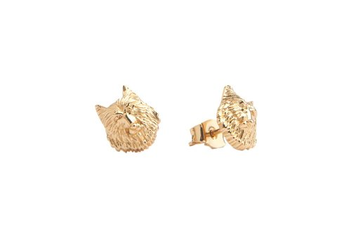 All the Luck in the World Parade Goldplated Earrings Wolf