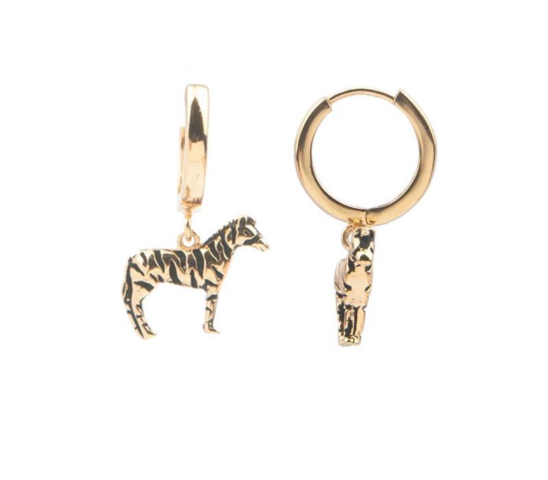 Souvenir Goldplated Oorbel Zebra