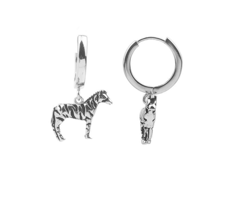 Souvenir Silverplated Oorbel Zebra
